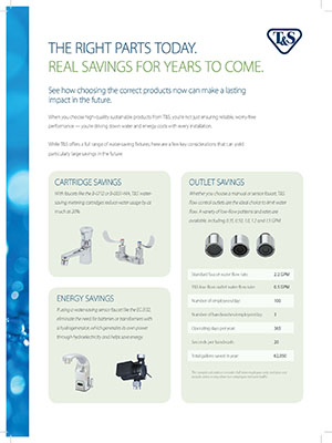 Plumbing Sustainability Flyer - Right Parts Today Savings for Years to Come