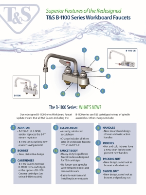 Redesigned B-1100 Series Workboard Faucet Flyer
