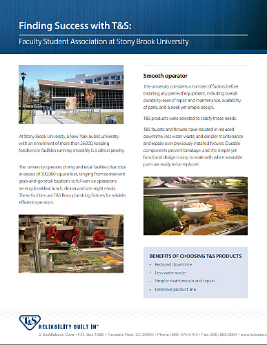 T&S Case Study: T&S Faucets and Fixtures Ensure Reliability, Reduced Down Time, and Less Water Waste for a New York University