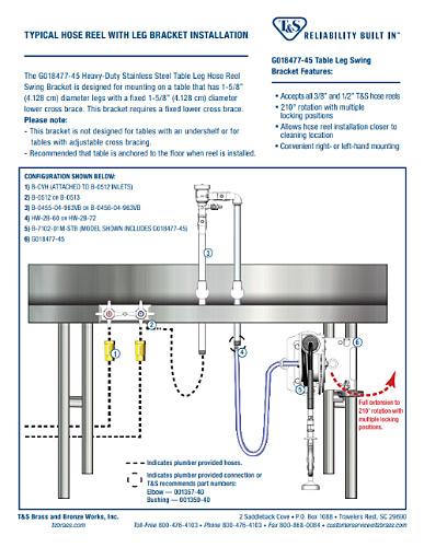 Table Leg Hose Reel Bracket Installation Instruction