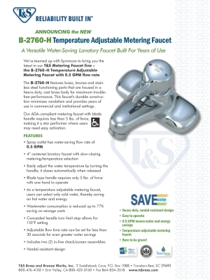 Temperature Adjustable Metering Faucet Flyer