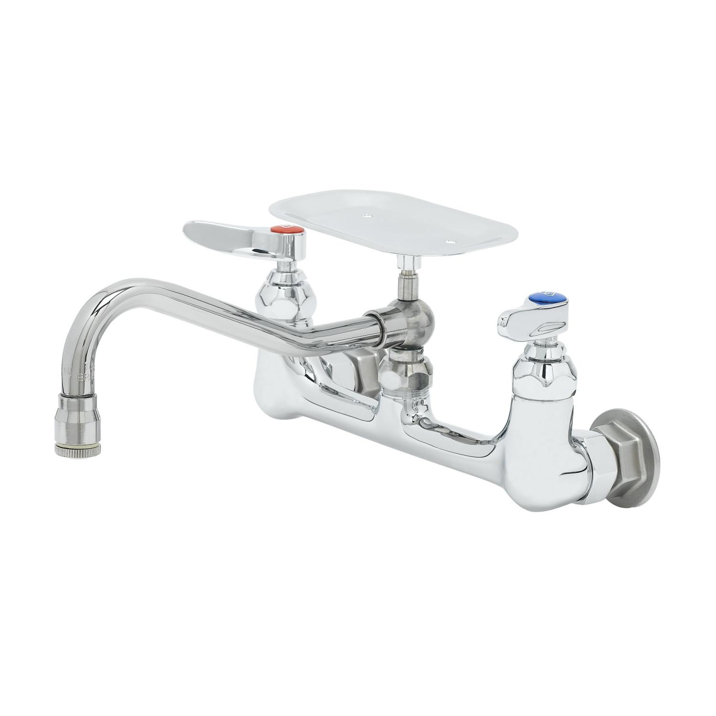 T/&S Brass B-0665-BSTP-VRS  8-Inch Service Sink Faucet VR Handle Screws, Built-In Stops Vacuum Breaker Wall Mount