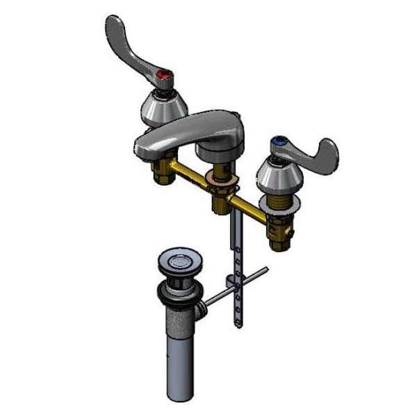 Wrist Action Handles 8 Centers T/&S Brass B-2990-WH4 Lavatory Faucet Cast Basin Spout Concealed Body